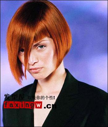 帅气女人 女生斜刘海短发发型图片(5)