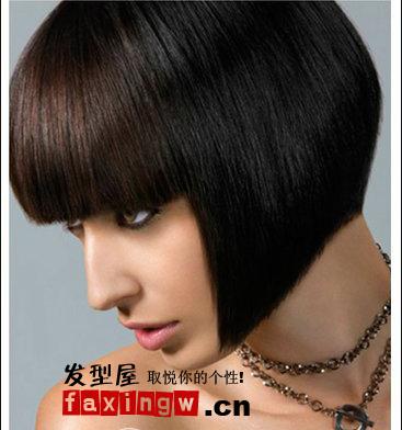 黑色齐刘海短发