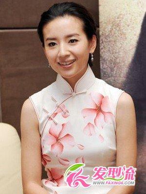 图旗袍发型图片中韩女星各具韵味(4)_时尚发型