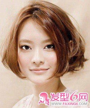 中分内弯刘海x 空气卷蘑菇短发-7款齐刘海发型让你萌倒爆 2图片
