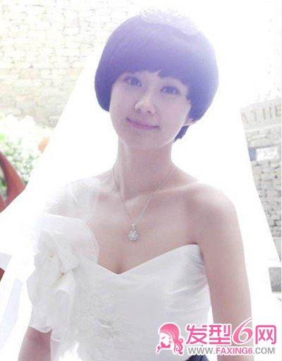 短发 张娜拉/韩国明星婚纱照张娜拉短发可爱中不失唯美