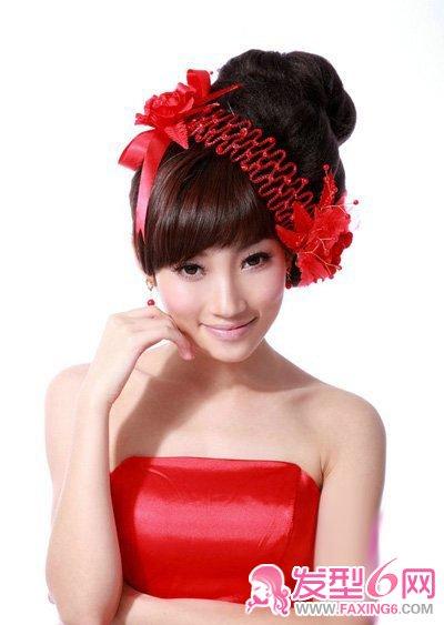 热情高贵 红色新娘敬酒发型(5)