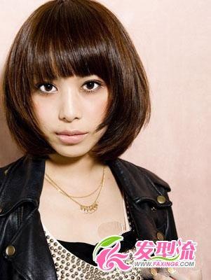 大圆脸发型设计图片 女生短发发型look(4)