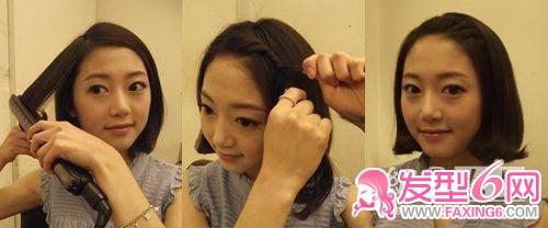 导读:图片教程 给头发偏分,从多的一部分开始编小辫,一直编到耳际.