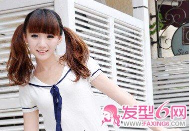 刘海的双马尾乖乖少女一直最爱的一款发型,两个动感的双马尾,天真可爱