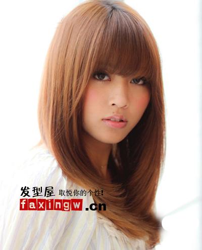短直发发型图片女_
