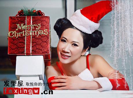 可爱 写真 芙蓉姐姐/芙蓉姐姐圣诞写真卖萌双发髻显精灵可爱