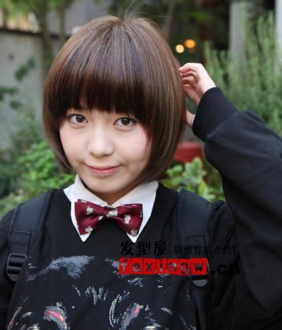 可人清纯的齐刘海bob头是圆脸的学生mm必备之选头像.陈翔六点半发型图片