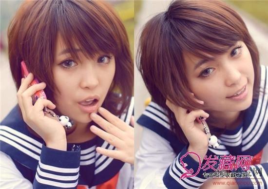 浅笑 清纯唯美学生装短发发型图片