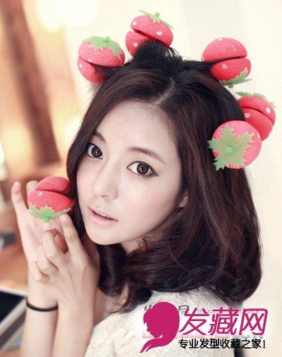 韩式可爱发型图片 夏天扮嫩就靠它 →简单知性的齐肩卷发发型 韩妞