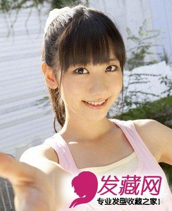 清新学生发型设计 马尾齐刘海校园人气急升(7)图片