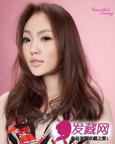 中分长刘海卷发 鹅蛋脸最气质发型(7)图片