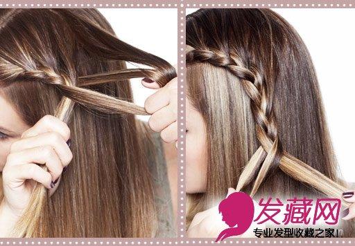 5.然后重复第3步,继续加入新头发编织   6.重复,直到大约加入了5--7束新头发。   7.当低于耳朵的高度以后,就不用再加新的头发进去了,将手中的头发编成麻花辫,然后用透明橡皮筋固定。   这款麻花辫发型适合任何发质,适合任何头发长度,长发
