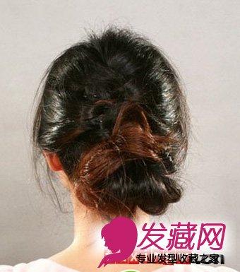 优雅蜈蚣编发盘发diy步骤 打造韩式小女人味 →韩式花苞头低盘发图片