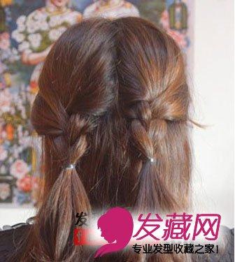 夏季发型中长发扎法; 头发利用三股辫的编发将头发编制成两个好看的
