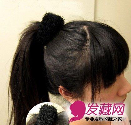 简单蓬松感丸子头扎法图解 春日必备(4)