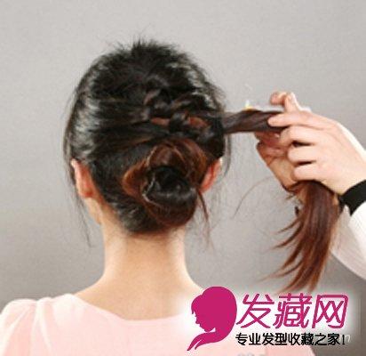 第六步上面的头发也扭成一股.