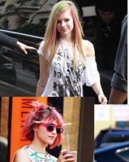 齐秀 发型/艾薇儿的粉色挑染发型 明星齐秀最潮粉红发