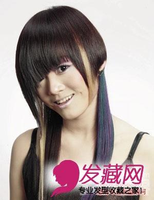 圆脸适合的直发发型:顺滑的长直发 斜分遮眼刘海,看上去头发两侧图片