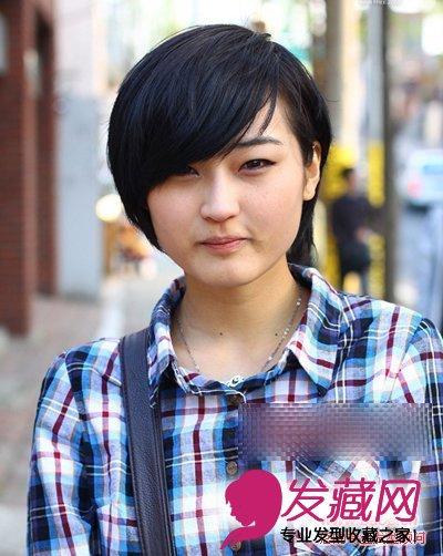 圆脸适合发型>好看夏天发型导读短发(7)适合:学生味学生圆脸刘诗诗外翻短发美丽图片