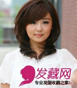 秋季女生圆脸适合的发型图片