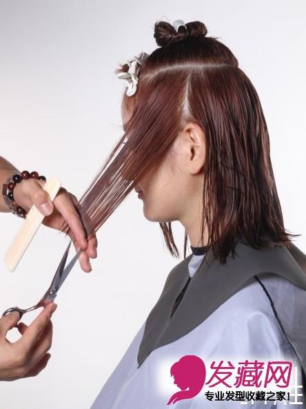 日系空气感发型的剪发步骤图(4)