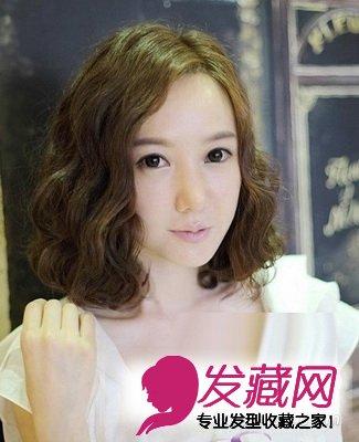 90后女生韩式发型设计 清纯可爱学院风 →浅棕色系的齐肩短发发型