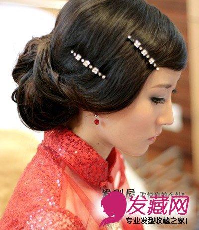 浪漫人生从优雅新娘盘发发型开始 →2016年中短发新娘盘发图片图片