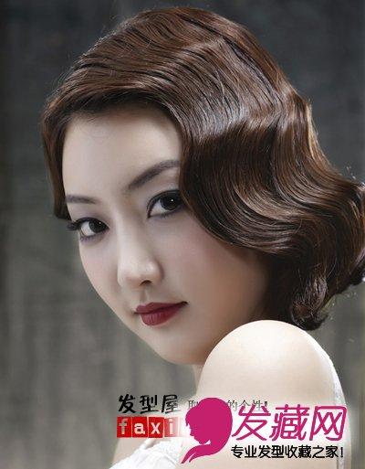 十月婚礼发型设计 蓬松感盘发让新娘甜美可     复古新娘短发