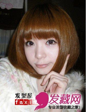 【图】2015可爱齐刘海短发发型图片