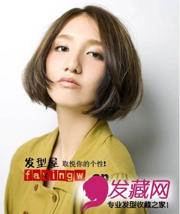 中分刘海短发迅速打造巴掌脸(4)