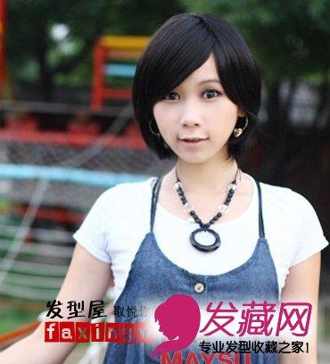 斜刘海短发发型图片(5)