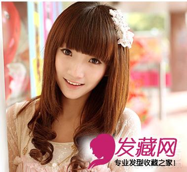 可爱齐刘海梨花头发型图片(3)
