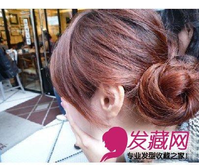 韩式盘发发型扎发图解(7)