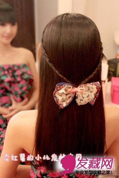 一分钟学发型 diy可爱韩式猫耳朵扎发 →韩式花苞头扎法图解 编发di图片