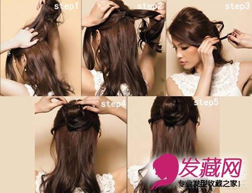 扎头发简单好看(2)    步骤图   step1-4:   step 1: 十指张开,分别从图片