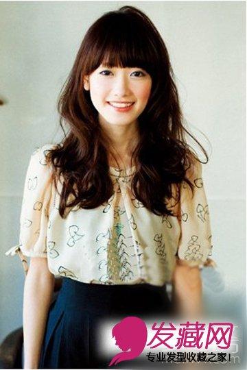 甜美可人圆脸发型设计   圆脸适合的长卷发,bob头样式的齐刘海头发