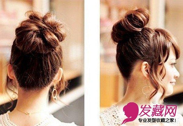 打造方法:先扎个丸子头,再用电卷棒把侧面的头发弄卷.