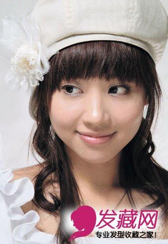 瘦脸扮嫩齐刘海新娘发型