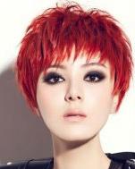 陈廷嘉时尚写真 冷艳魅力红色系短发纹理烫图片