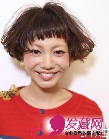 日式短发烫头图片