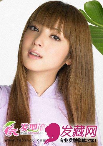 齐刘海女生中长发发型