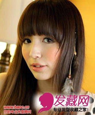 亚麻色齐刘海适合什么脸型,齐刘海乖巧又甜美(3)  导读:发型点评:梨花图片