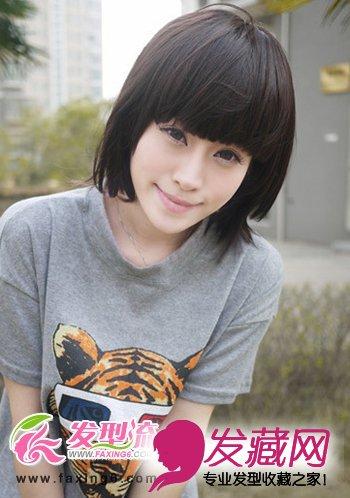 中分刘海短发显瘦 自然黑色的短发发型有着浓浓的学生妹清纯气息,彰显