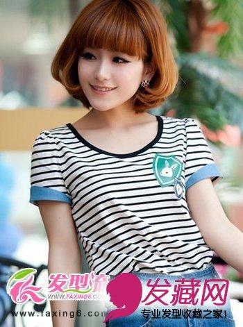 齐刘海波波头发型展现出女生甜美可爱的一面,有着内扣效果-女生齐