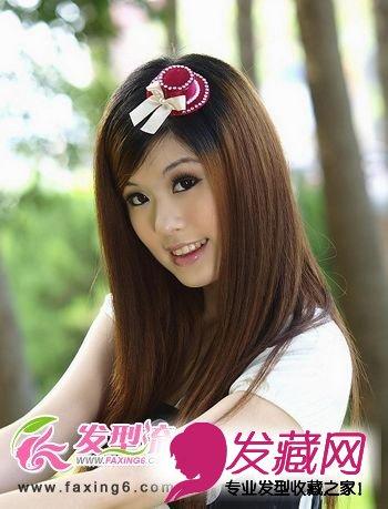 斜刘海直发发型图片