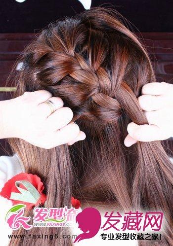 唯美蝎子辫韩式发型扎法步骤(4)