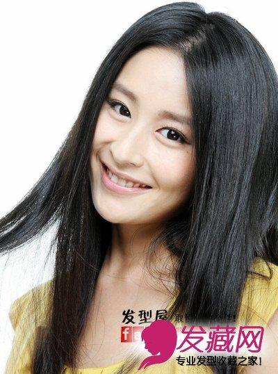 颖儿清新写真 甜美淑女味黑色长直发图片(4)