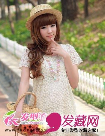 中长发减龄齐刘海发型图片(3)