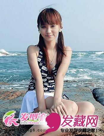 中长发减龄齐刘海发型图片 5